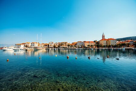 brac: Supetar city in Brac island, Croatia. View from the sea.
