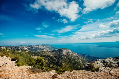 gora: View on mountains and sea from Vidova Gora on Brac island Stock Photo