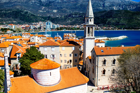 old city: Top view from citadel on Budva old city center