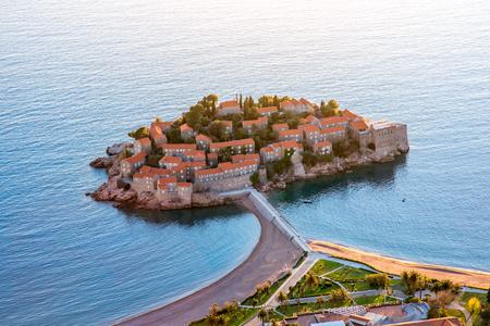 sveti: St. Stefan island top view in Montenegro