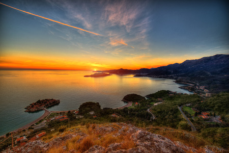 sveti: Beautiful landscape of Adriatic sea and mountains coast in Montenegro on the sunset Stock Photo