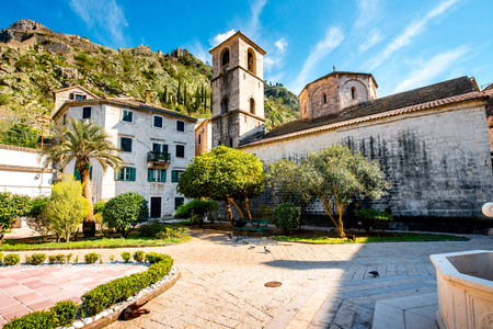 marys: St. Marys Church square in old city Kotor, Montenegro Stock Photo