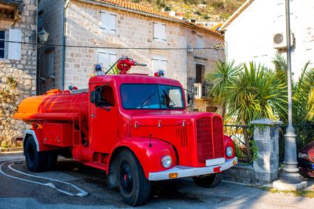 antique fire truck: Old fire truck in Perast city, Montenegro