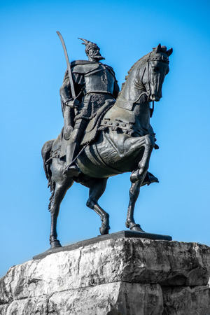 albanian: Skanderbeg monument  in Tirana. National Albanian hero.