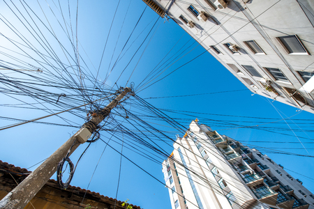 chaotic: Chaotic power lines in Tirana city, Albania