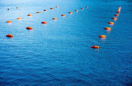 boyas: Muchas boyas de pesca rojas flotando en el mar