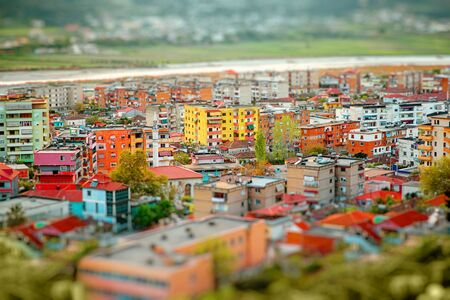 coloful: Coloful panel houses in Berat city, Albania. Top view Stock Photo