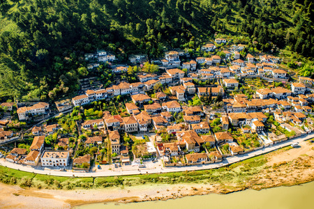top of the world: Historic city of Berat in Albania, World Heritage Site by UNESCO, top view from the castle.