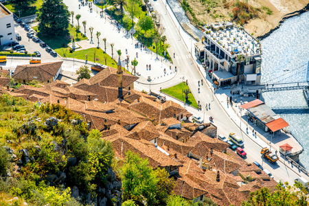 river scape: Mangalem and modern part of Berat city in Albania. Top view Stock Photo