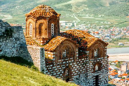 St. Theodores kerk in de stad Berat, Albanië Stockfoto