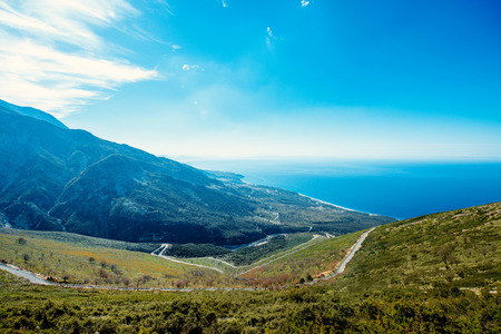 serpentine: Road serpentine in the mountains near the sea in Albania Stock Photo