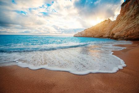 greece shoreline: Porto Katsiki beach on Lefkada island in Greece