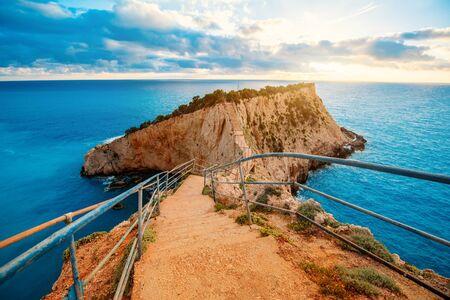 greece shoreline: Porto Katsiki coast on Lefkada island in Greece on the sunset Stock Photo