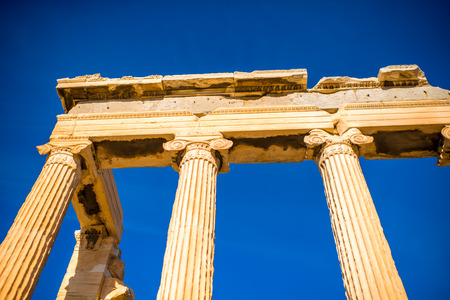 fragments: Architectural fragments of Erechtheum temple in Acropolis Stock Photo