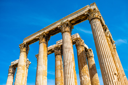 olympian: Zeus temple ruins near Acropolis in Athens, Greece Stock Photo