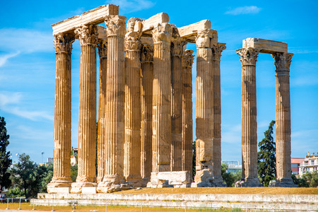 Zeus temple ruins near Acropolis in Athens, Greece Stock Photo