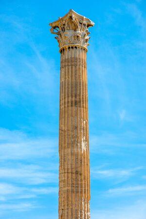 Corinthian column of Zeus temple in Athens, Greece photo
