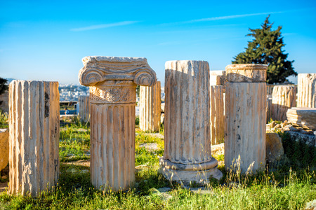 acropolis: Architectural fragments of Acropolis ruins in Greece Stock Photo