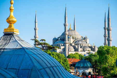 Beautiful view on Blue mosque in Istanbul, Turkey