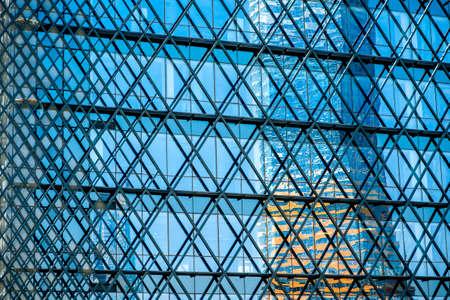 reflaction: Contemporary facade construction with the beautiful reflaction Stock Photo