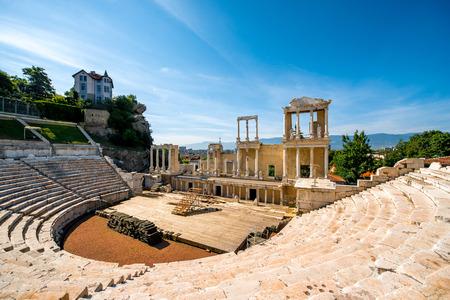 플 로브 디프, 불가리아 Philippopolis의 로마 극장 스톡 콘텐츠