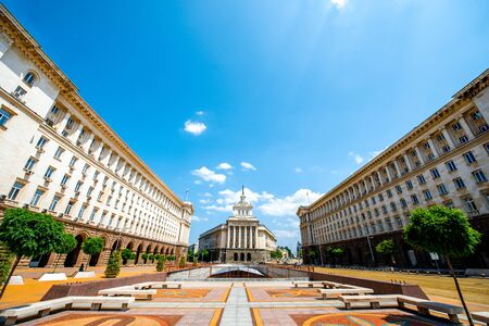 classicism: An architectural ensemble of three Socialist Classicism edifices in central Sofia, the capital of Bulgaria