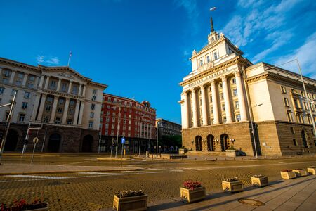 classicism: Party House in architectural ensemble of three Socialist Classicism edifices in central Sofia, capital of Bulgaria. Stock Photo