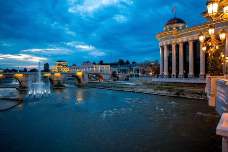 View on Stone bridge from Oko bridge in Skopje in the evening