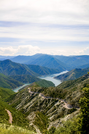 macedonian: Beautiful mountains and Kozjak lake near Skopje in Macedonia. Macedonian landscape Stock Photo