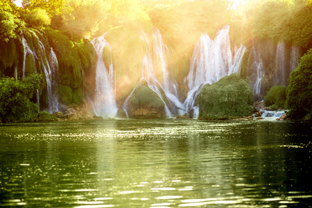 Beautiful view on Kravica waterfall in Bosnia and Herzegovina on sunset Stock Photo