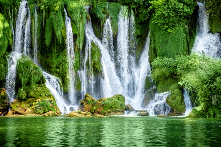 forest jungle: Beautiful view on Kravica waterfall in Bosnia and Herzegovina