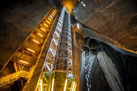salina: TURDA, ROMANIA - JUNE 30 2015: Underground space in the Salt Mine Salina Turda museum in Romania