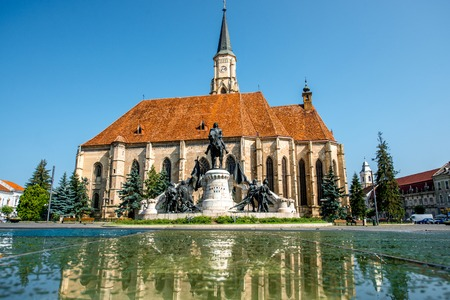 cluj: Michaels church and Matthias Corvinus monument in Cluj Napoca in Romania