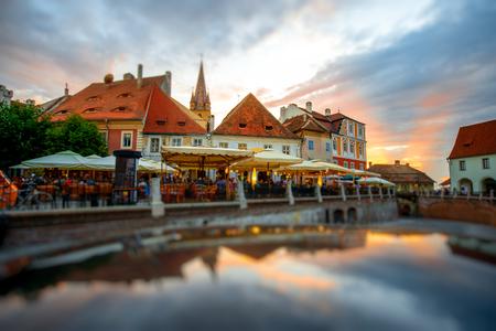 reflaction: Beautiful night view with reflaction on old Sibiu city