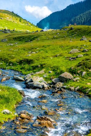 fagaras: Beautiful view on mountain river with small house on Fagaras mountains in Romania