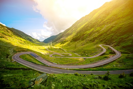 Landscape from the Fagaras mountains with Transfagarasan winding road in Romania 版權商用圖片