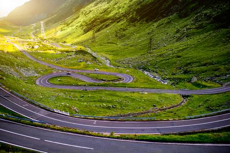 fagaras: Landscape from the Fagaras mountains with Transfagarasan winding road in Romania Stock Photo