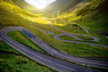 Landscape from the Fagaras mountains with Transfagarasan winding road in Romania Standard-Bild
