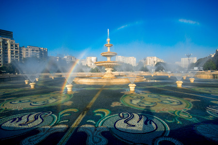 Central city fountain in Bucharest, capital of Romania