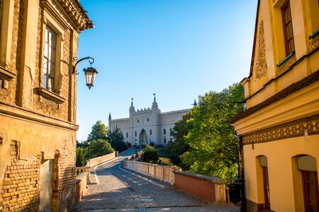 lublin: Old buildings with castle on background in Lublin, Poland