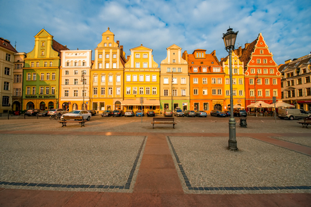 tenement buildings: Wroclaw, POLAND - OCT 08, 2015: Colorful buildings on the medieval market square in the center of Wroclaw Editorial