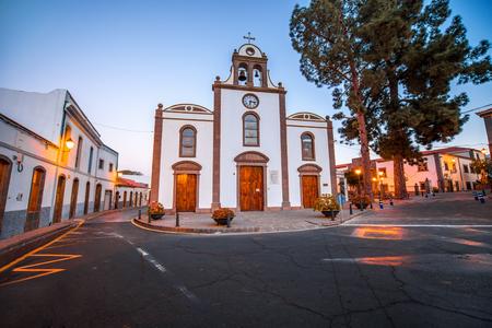 bartolome: Square near the church in San Bartolome de Tirajana in Gran Canaria island in the evening Stock Photo