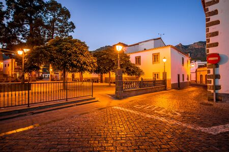 bartolome: View on the central square in San Bartolome de Tirajana town in Gran Canaria island in the evening Stock Photo