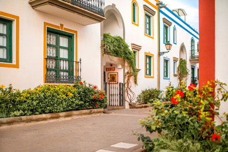 Street view in Puerto de Mogan village on the southwest coast of the island of Gran Canaria