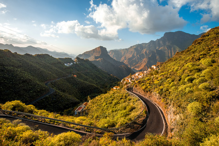 Beautiful lanscape view on mountains and El Carrizal village on Gran Canaria island