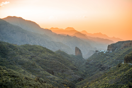 western part: Beaitiful mountains on western part of Gran Canaria island on the sunset