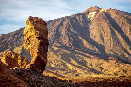 island: Beautiful rocky desert landscape on Teide park on Tenerife island on the sunset