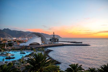 santa cruz de tenerife: SANTA CRUZ DE TENERIFE, SPAIN - DECEMBER 17, 2015: Cityscape view with Auditorio de Tenerife in Santa Cruz de Tenerife. This auditorium was designed by famous architect Santiago Calatrava