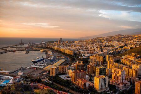 santa cruz de tenerife: Aerial cityscape view on Santa Cruz de Tenerife on the sunrise on Canary islands Stock Photo