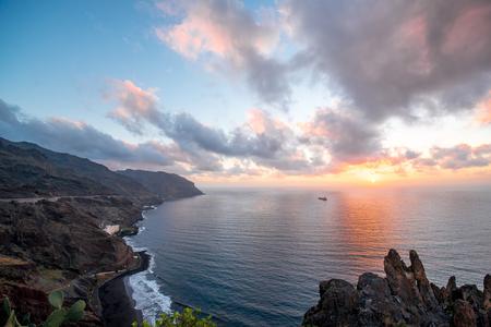 santa cruz de tenerife: Aerial view on coastline near Santa Cruz de Tenerife in Anaga park on Canary island